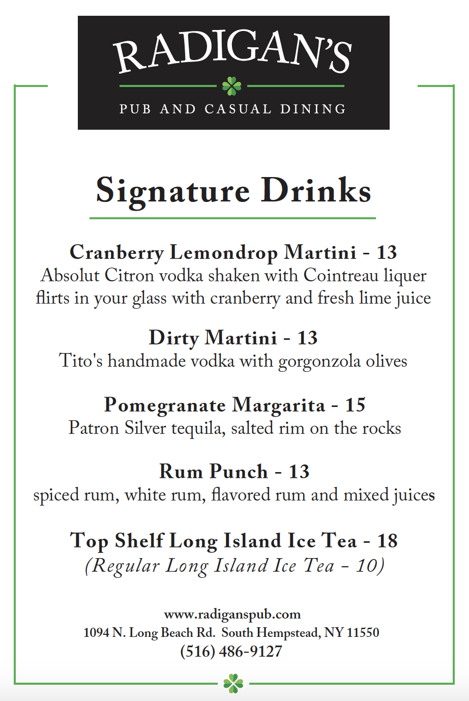Signature Drinks Menu
